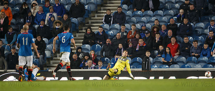 Cammy Bell watches Alan Forrest's shot go past him and into the net