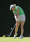 Morgan Pressel hits her tee shot on the 8th hole during the final round of the LPGA Safeway Classic golf tournament in Portland, Ore., Sunday, Sept. 01, 2013. (AP Photo/Steve Dykes)