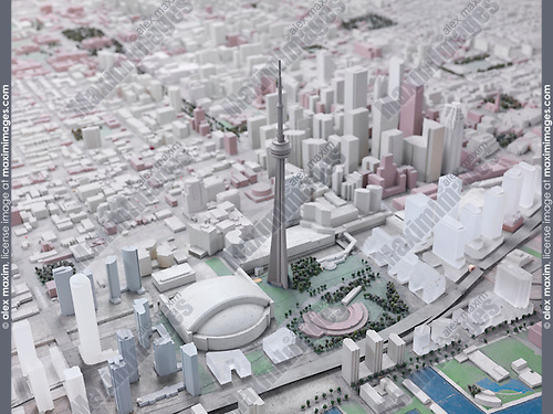 Model of the City of Toronto with CN tower in the middle