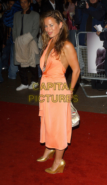 "JADE JAGGER.""Get Rich Or Die Tryin'"" UK film premiere at Empire leicester Square. London, UK..January 17th, 2006.Ref: BEL.full length orange dress gold wedges wedge shoes.www.capitalpictures.com.sales@capitalpictures.com.© Capital Pictures."