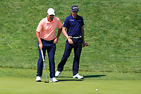 Richard Bland (ENG) and Dean Burmester (RSA) on the 1st green during Round 3 of the HNA Open De France at Le Golf National in Saint-Quentin-En-Yvelines, Paris, France on Saturday 30th June 2018.<br /> Picture:  Thos Caffrey | Golffile