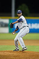 Princeton Rays relief pitcher Orlando Romero (35) in action against the Burlington Royals at Burlington Athletic Stadium on August 12, 2016 in Burlington, North Carolina.  The Royals defeated the Rays 9-5.  (Brian Westerholt/Four Seam Images)