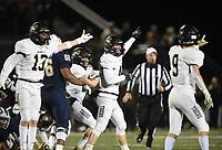 NWA Democrat-Gazette/CHARLIE KAIJO Bentonville players react, Friday, November 8, 2019 during a football game at Bentonville West High School in Centerton.