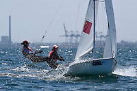470 / Nan ZHANG - Yixiao LV (CHN)<br /> ISAF Sailing World Cup Final - Melbourne<br /> St Kilda sailing precinct, Victoria<br /> Port Phillip Bay Tuesday 6 Dec 2016<br /> &copy; Sport the library / Jeff Crow