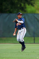 GCL Braves center fielder Randy Ventura (46) during a game against the GCL Phillies on August 3, 2016 at the Carpenter Complex in Clearwater, Florida.  GCL Phillies defeated GCL Braves 4-3 in a rain shortened six inning game.  (Mike Janes/Four Seam Images)