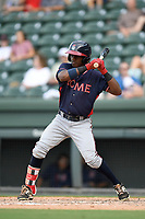 Second baseman Kevin Josephina (24) of the Rome Braves bats in a game against the Greenville Drive on Sunday, August 13, 2017, at Fluor Field at the West End in Greenville, South Carolina. Greenville won, 2-1. (Tom Priddy/Four Seam Images)