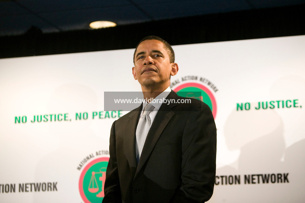 21 April 2007 - New York City, NY - Democratic presidential hopeful Senator Barack Obama waits before delivering a speech to the 9th Annual National Action Network Convention in New York City, USA, April 2007.