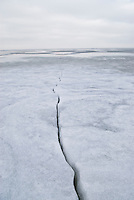 Frozen sea ice of the Curonian Lagoon, Nida, Lithuania