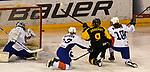 07.01.2020, BLZ Arena, Füssen / Fuessen, GER, IIHF Ice Hockey U18 Women's World Championship DIV I Group A, <br /> Deutschland (GER) vs Frankreich (FRA), <br /> im Bild Eline Gillodes (FRA, #1) mit Glueck, Flavie Gaydon (FRA, #13) und Lea Berger (FRA, #10) koennen Pauline Gruchot (GER, #9) nitcht am (Pfosten)-schuss hindern<br /> <br /> Foto © nordphoto / Hafner