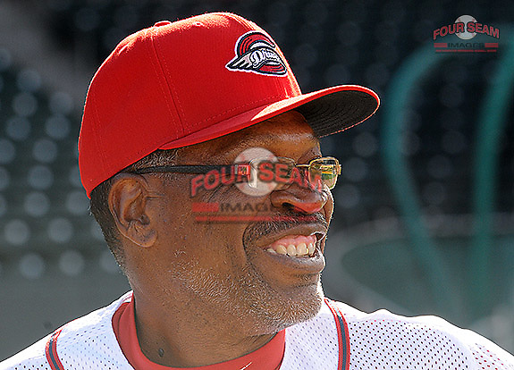 Hitting coach UL Washington of the Greenville Drive during Media Day just prior to the start of the 2013 season on Tuesday, April 2, 2013, at Fluor Field at the West End in Greenville, South Carolina. (Tom Priddy/Four Seam Images)
