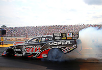 Aug. 18, 2013; Brainerd, MN, USA: NHRA funny car driver Matt Hagan during the Lucas Oil Nationals at Brainerd International Raceway. Mandatory Credit: Mark J. Rebilas-