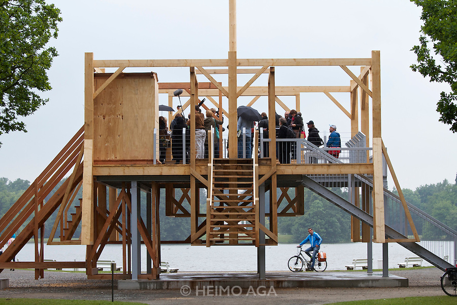 dOCUMENTA (13) in Kassel, Germany..Karlsaue..Sam Durant. Sculpture made from gallows..