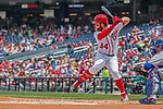 29 April 2017: Washington Nationals outfielder Bryce Harper at bat against the New York Mets at Nationals Park in Washington, DC. The Mets defeated the Nationals 5-3 to take the second game of their 3-game weekend series. Mandatory Credit: Ed Wolfstein Photo *** RAW (NEF) Image File Available ***