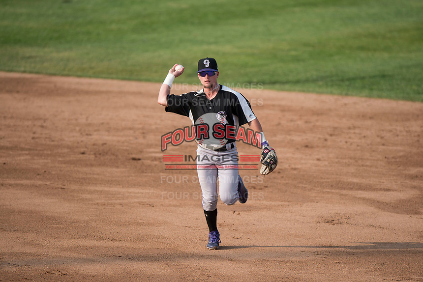 Grand Junction Rockies second baseman Hunter Stovall (1) prepares to make a throw to first base during a Pioneer League game against the Missoula Osprey at Ogren Park Allegiance Field on August 21, 2018 in Missoula, Montana. The Missoula Osprey defeated the Grand Junction Rockies by a score of 2-1. (Zachary Lucy/Four Seam Images)