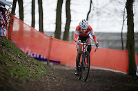 Marianne Vos (NLD) already riding solo in lap 2<br /> <br /> 2014 UCI cyclo-cross World Championships, Elite Women