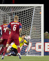 Real Salt Lake goalkeeper Nick Rimando (18) with a save. Real Salt Lake defeated the New England Revolution, 2-1, at Gillette Stadium on October 2, 2010.