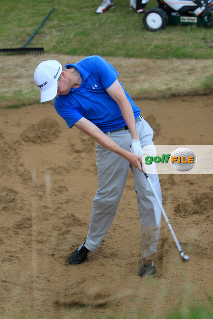 Simon Ward (Co. Louth) in a bunker on the 18th during the South of Ireland Amateur Open Championship Final at Lahinch Golf Club  31th July 2013 <br /> Picture:  Thos Caffrey / www.golffile.ie