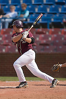 Mike Belfiore #24 of the Boston College Eagles follows through on his swing versus the Wake Forest Demon Deacons at Wake Forest Baseball Park April 11, 2009 in Winston-Salem, NC. (Photo by Brian Westerholt / Four Seam Images)
