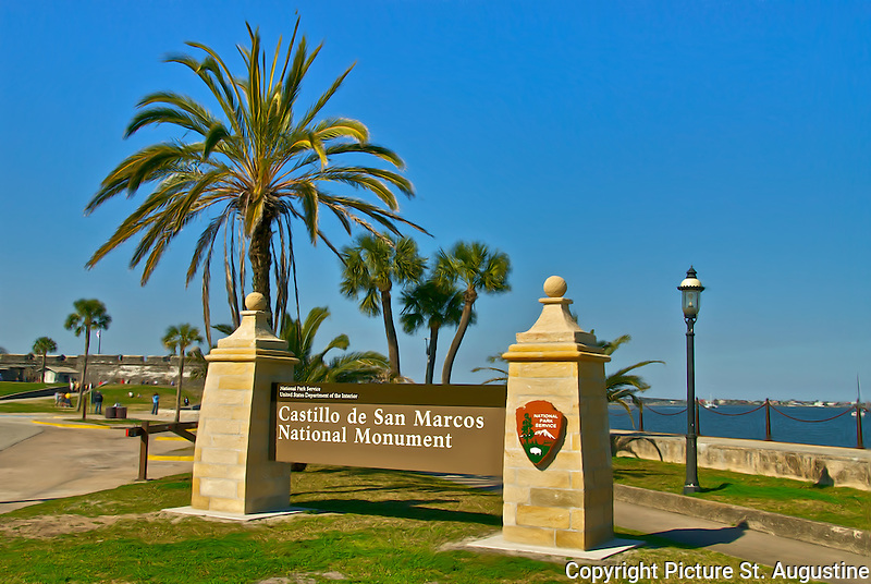 Photograph of the Castillo de San Marcos National Monument Sign leading to the entrance of the National Park in St. Augustine, Florida.