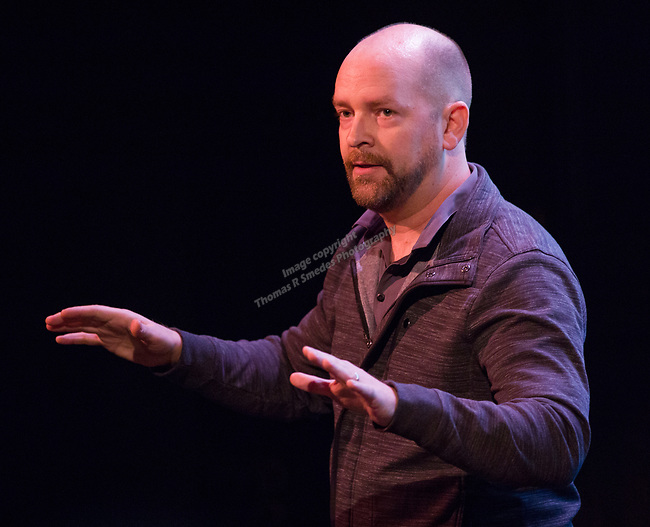 Michael Grimm talks about how to overcome theater superstitions during the Take 5 fundraiser at the Bruka Theatre on Saturday night, Jan. 13, 2018.