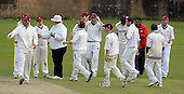 West of Scotland CC V Uddingston CC, Scottish National Cricket League, Premier Div, at Hamilton Cres, Glasgow - West enjoying fullsome celebrations - Picture by Donald MacLeod