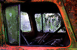 Window of old Ford pickup abandoned to rust away.