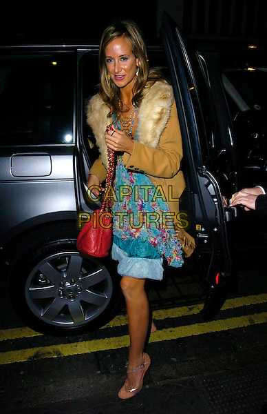 LADY VICTORIA HERVEY.The Tatler's Little Black Book launch party, 24 nightclub, 24 Kingsley St., London, UK..November 9th, 2006.Ref: CAN.full length car blue dress fur trim brown coat jacket red bag purse floral print.www.capitalpictures.com.sales@capitalpictures.com.©Can Nguyen/Capital Pictures
