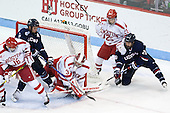 John MacLeod (BU - 16), Shawn Pauly (UConn - 9), Sean Maguire (BU - 31), Brandon Fortunato (BU - 25), Joey Ferriss (UConn - 28) - The Boston University Terriers defeated the visiting University of Connecticut Huskies 4-2 (EN) on Saturday, October 24, 2015, at Agganis Arena in Boston, Massachusetts.