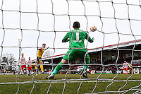 James Collins of Northampton Town scores his team's first goal against Stevenage during the Sky Bet League 2 match between Stevenage and Northampton Town at the Lamex Stadium, Stevenage, England on 19 March 2016. Photo by David Horn / PRiME Media Images.
