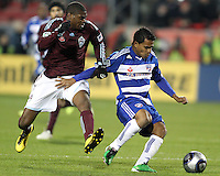 David Ferreira#10 of FC Dallas is about to be tackled by Anthony Wallace#6 of the Colorado Rapids during MLS Cup 2010 at BMO Stadium in Toronto, Ontario on November 21 2010.Colorado won 2-1 in overtime.