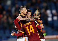 Calcio, Serie A:  Roma vs Palermo. Roma, stadio Olimpico, 21 febbraio 2016. <br /> Roma&rsquo;s Edin Dzeko, left, celebrates with teammates after scoring his second goal during the Italian Serie A football match between Roma and Palermo at Rome's Olympic stadium, 21 February 2016.<br /> UPDATE IMAGES PRESS/Riccardo De Luca