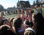 (Worcester Ma 111613) Walpole High School girls field hockey team celebrates after winning the MIAA Division 1 Field Hockey Championship against Longmeadow High School, Saturday, November 16, 2013, in Worcester Polytechnic Institute in Worcester.  (Jim Michaud Photo)  for Sunday
