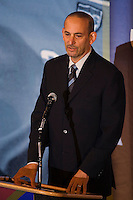 Commissioner of Major League Soccer, Don Garber addresses the audience at the 2006 National Soccer Hall of Fame Enshrinement Ceremony. National Soccer Hall of Fame at Wright Soccer Campus, Oneonta, NY, on August 28, 2006.