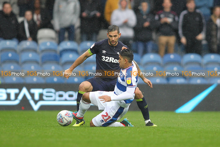 Massimo Luongo of Queens Park Rangers and Bradley Johnson of Derby County during Queens Park Rangers vs Derby County, Sky Bet EFL Championship Football at Loftus Road Stadium on 6th October 2018