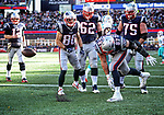 (Foxboro, MA, 11/26/17) New England Patriots' Rob Gronkowski (87) spikes the football in front his teammates after scoring a touchdown against the Miami Dolphins during the first quarter of an NFL football game at Gillette Stadium in Foxboro on Sunday, November 26, 2017. Staff photo by Christopher Evans