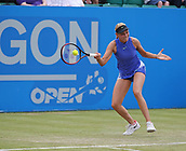 June 16th 2017, Nottingham, England; WTA Aegon Nottingham Open Tennis Tournament day 5;  Forehand from Donna Vekic of Croatia who defeated Maria Sakkari of Greece in two sets
