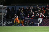 Vivianne Miedema of Arsenal (11) scores the first goal for her team during Arsenal Women vs Manchester United Women, FA WSL Continental Tyres Cup Football at Meadow Park on 7th February 2019