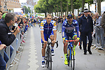 Matteo Trentin (ITA) Quick-Step Floors at sign on in Dusseldorf before the start of Stage 2 of the 104th edition of the Tour de France 2017, running 203.5km from Dusseldorf, Germany to Liege, Belgium. 2nd July 2017.<br /> Picture: Eoin Clarke | Cyclefile<br /> <br /> <br /> All photos usage must carry mandatory copyright credit (&copy; Cyclefile | Eoin Clarke)