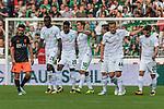 05.08.2017, Weserstadion, Bremen, GER, FSP, SV Werder Bremen (GER) vs FC Valencia (ESP)<br /> <br /> im Bild<br /> Torjubel zum 1:1 durch Max Kruse (Werder Bremen #10) mit Lamine San&eacute; / Sane (Werder Bremen #26), Ulisses Alexandre Garcia (Werder Bremen #20), Philipp Bargfrede (Werder Bremen #44), Fin Bartels (Werder Bremen #22), <br /> <br /> Foto &copy; nordphoto / Ewert