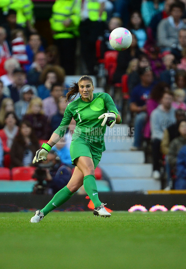 Aug 6, 2012; Manchester , United Kingdom; USA goalie Hope Solo against Canada in the semi finals during the London 2012 Olympic Games at Old Trafford. Mandatory Credit: Mark J. Rebilas-USA TODAY Sports