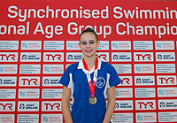 Picture by Allan McKenzie/SWpix.com - 26/11/2017 - Swimming - Swim England Synchronised Swimming National Age Group Championships 2017 - GL1 Leisure Centre, Gloucester, England - Mimi Gray takes gold in the 13-15 solo.