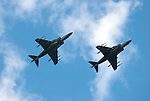 """22 June 2011             Harrier jets fly overhead at the conclusion of the national anthem as part of """"Marine Week"""" in St. Louis, which featured static aircraft displays at various venues around town, including the Ballpark Village site adjacent to Busch Stadium. The St. Louis Cardinals hosted the Philadelphia Phillies in the second game of a three-game series on Wednesday June 22, 2011 at Busch Stadium in downtown St. Louis."""