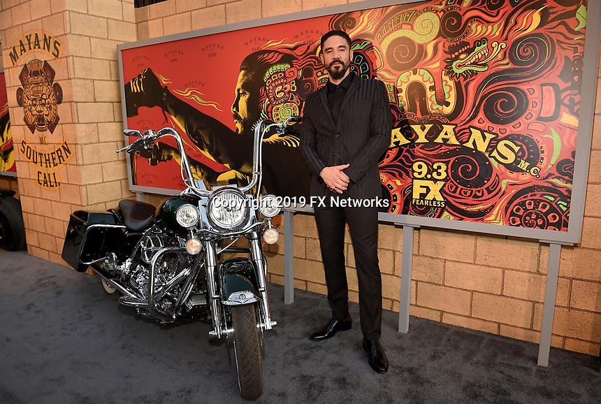 """LOS ANGELES - AUGUST 27: Clayton Cardenas attends the season two red carpet premiere of FX's """"Mayans M.C"""" at the ArcLight Dome on August 27, 2019 in Los Angeles, California. (Photo by Frank Micelotta/FX/PictureGroup)"""