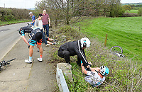Picture by SWpix.com - 04/05/2018 - Cycling - 2018 Tour de Yorkshire - Stage 2: Barnsley to Ilkley - Yorkshire, England - Madison Genesis's George Pym and Team Sky's Kristoffer Halvorsen suffer crashes.