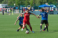 Kansas City, MO - Saturday May 13, 2017: Christine Sinclair, Becca Moros, Lo'eau Labonta, Erika Tymrak during a regular season National Women's Soccer League (NWSL) match between FC Kansas City and the Portland Thorns FC at Children's Mercy Victory Field.