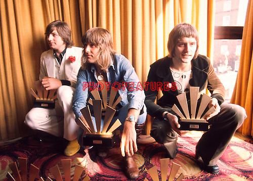 Emerson Lake &amp; Palmer 1972 ELP at Melody Maker Awards. Greg Lake, Keith Emerson and Carl Palmer<br />&copy; Chris Walter