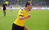 16th May 2020, Signal Iduna Park, Dortmund, Germany; Bundesliga football, Borussia Dortmund versus FC Schalke;   BVB Raphal Guerreiro celebrates scoring his goal for 2:0