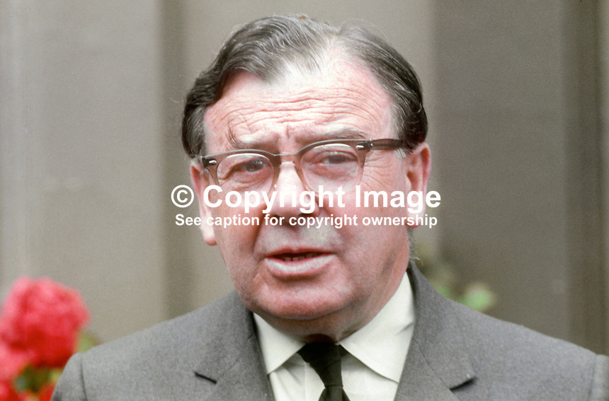 Sir Ian Fraser, first chairman, N Ireland Police Authority, which was constituted July 1970. He won a wartime DSO and was involved in the early field trials of penicillin using it with war casualties in the forward area of conflict in North Africa. July 1970. 197007000266b<br />