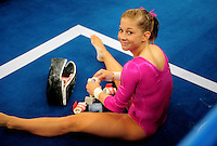 Aug. 7, 2008; Beijing, CHINA; Shawn Johnson (USA) during womens gymnastics training prior to the Olympics at the National Indoor Stadium. Mandatory Credit: Mark J. Rebilas-