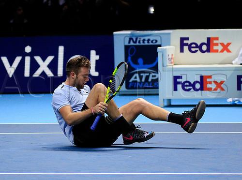 18th November 2017, O2 Arena, London, England; Nitto ATP Tennis Finals; Jack Sock (USA) fells down after return a drop shot to Grigor Dimitrov (BUL)